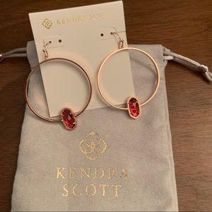 Kendra Scott Rose Gold Elora Hoops in Berry Glass